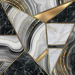 Fototapeta Art Deco abstract minimalist art deco background, modern mosaic inlay, texture of marble granite agate and gold, artistic painted marbling, artificial stone, marbled tile surface, fashion marbling illustration