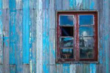 Abandoned Wooden Dwelling Window Facade