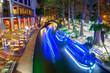 canvas print picture - San Antonio River Walk and boat with light near La Villita in downtown San Antonio, Texas, USA.