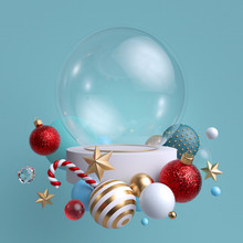 3d Glass Ball Decorated With F...
