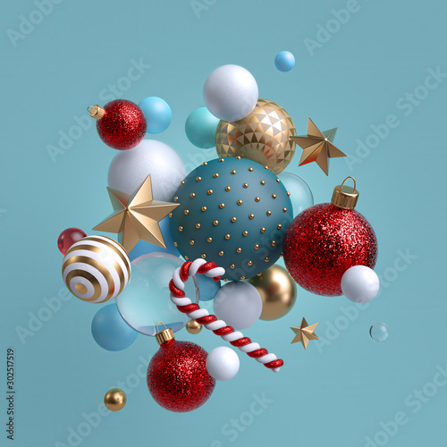 Poster de jardin Pierre, Sable 3d Christmas ornaments levitating. Red blue white glass balls, candy cane, golden stars isolated on blue background. Arrangement of levitating objects. Winter holiday clip art.