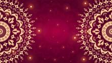 Beautiful Gold Ornamental Mandala On Gradient Red Background.
