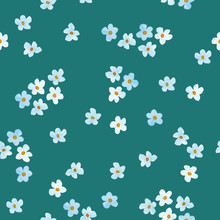 Little Blue And White Flowers Watercolor Painting - Hand Drawn Seamless Pattern On Navy Background