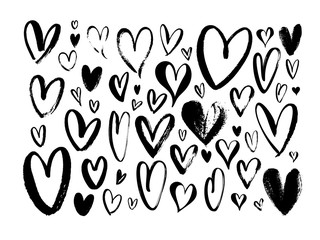 Abstract hearts hand drawn vector illustrations set. Various romantic charcoal pencil drawing pack.