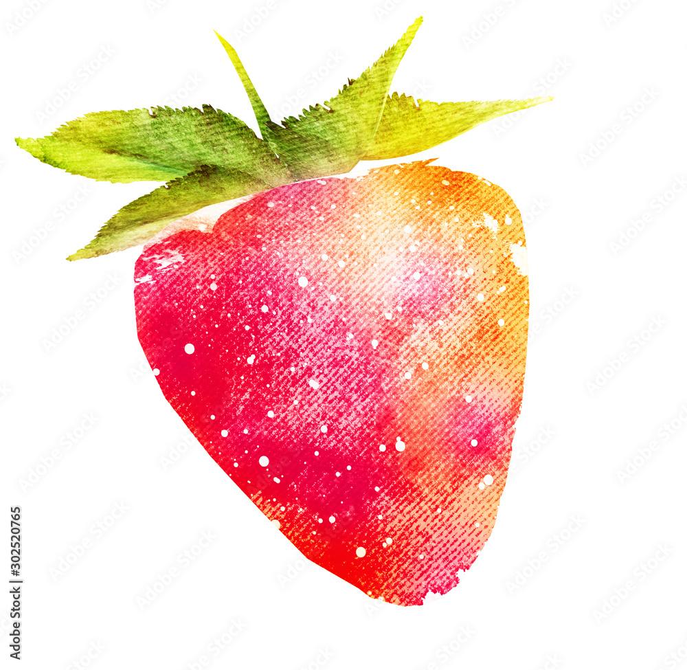 Fototapety, obrazy: Watercolor strawberry on white