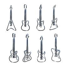 Set Of Guitars Isolated On White Background