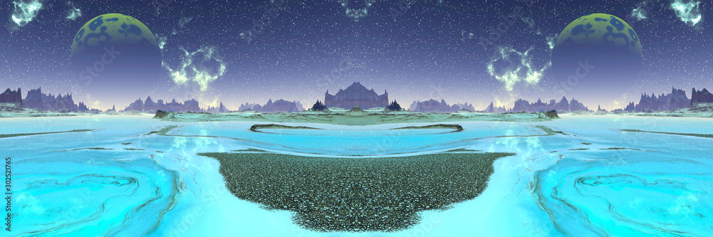 Fototapety, obrazy: Alien Planet. Mountain and lake. 3D rendering