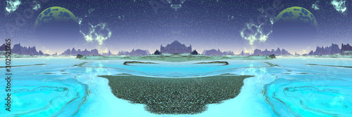 Obraz Alien Planet. Mountain and lake. 3D rendering - fototapety do salonu