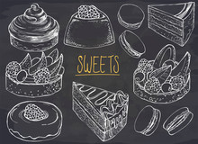 Set Of Hand Drawn Dessert On C...