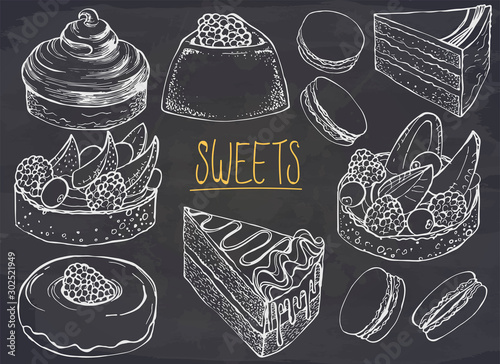 Fototapeta Set of hand drawn dessert on chalkboard. Vector illustration. Cakes, biscuits, baking, macaroons, cookie, pastries, donut, berry. Ink sketch illustration for dessert menu or food package design. obraz