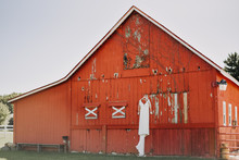 Red Barn With White Wedding Dr...