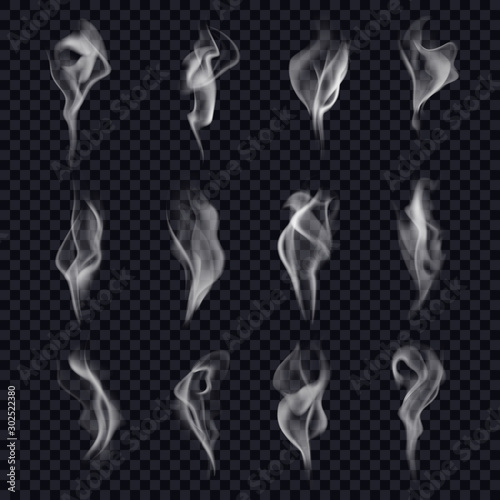 Set of isolated cigarette smoke or censer steam Fototapet