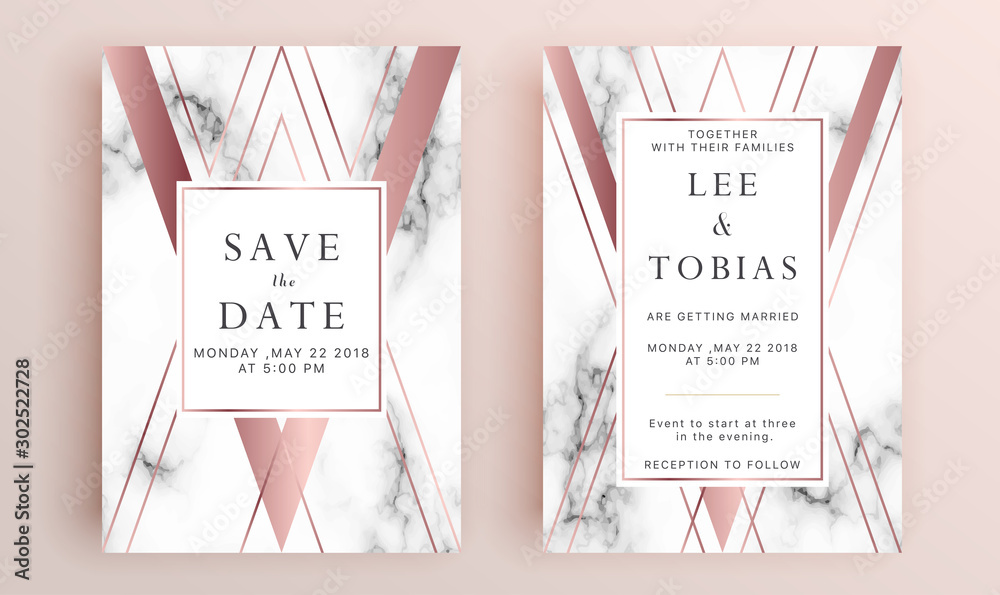 Fototapety, obrazy: Beautiful set of wedding card templates. Gold collection of geometrical polyhedron, art deco style for wedding invitation, luxury templates, decorative patterns.