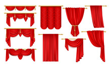 Set Of Isolated Open Red Curtain For Theater,opera