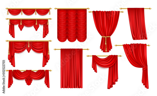 Cuadros en Lienzo  Set of isolated open red curtain for theater,opera