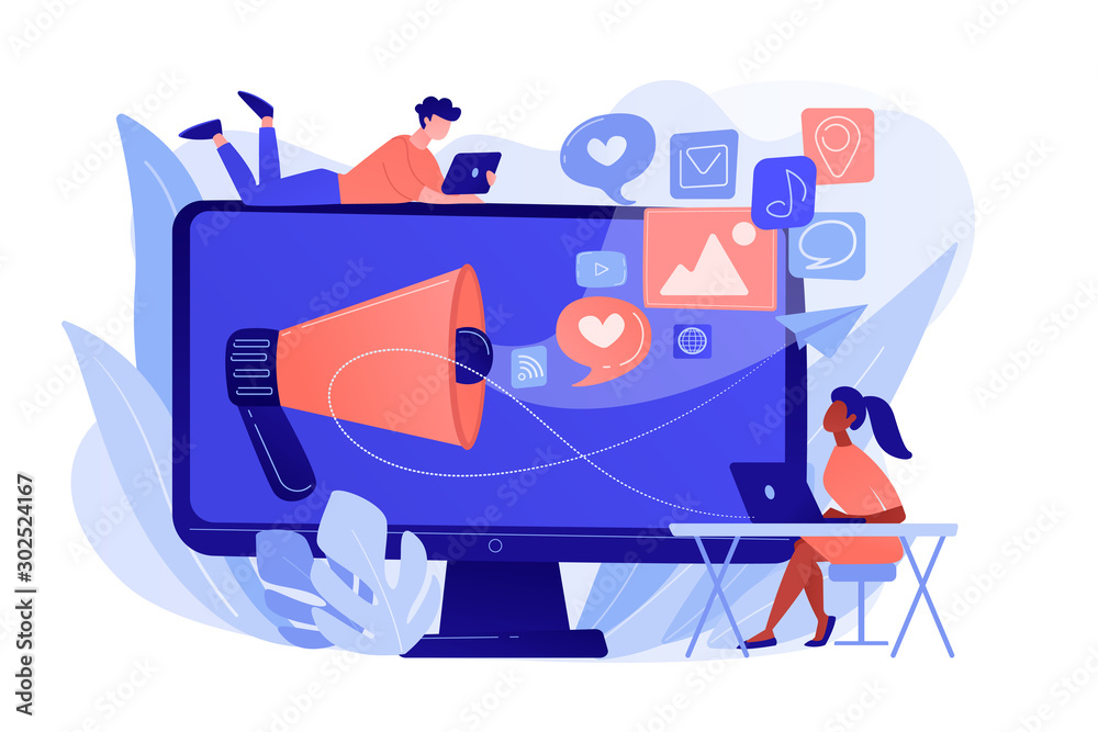 Fototapeta Marketing specialists and computer with megaphone and social media icons. Social media marketing, social networking, internet marketing concept. Pinkish coral bluevector isolated illustration