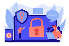 Developers Work On Cyber Security Program. Cyber Security Software, Information Security Program And Antivirus Concept On White Background. Pinkish Coral Bluevector Isolated Illustration