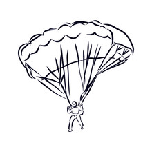 Silhouette Of Man With Parachute