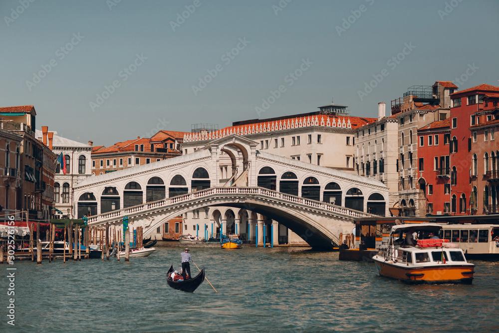 Rialto Bridge and Grand Canal in Venice, Italy