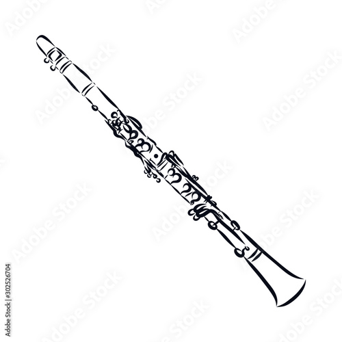 Foto trumpet isolated on white background, clarinet sketch, music instrument