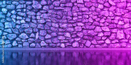 canvas print motiv - zeleniy9 : interior with a stone wall for the whole frame in neon light