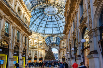 Glass dome of Galleria Vittorio Emanuele II. in Milan, Italy