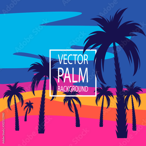 Palm trees. Evening on the beach with palm trees. Palm tree background. For banners, t-shirts, advertising, etc.