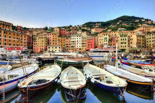 Beautiful shot of a port at the  famous historic Camogli, Liguria, Italy Canvas Print