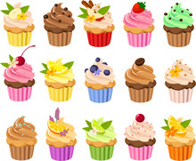 Vector Illustration Of Various Kinds Of Cup Cakes With Colorful Toppings And Frosting