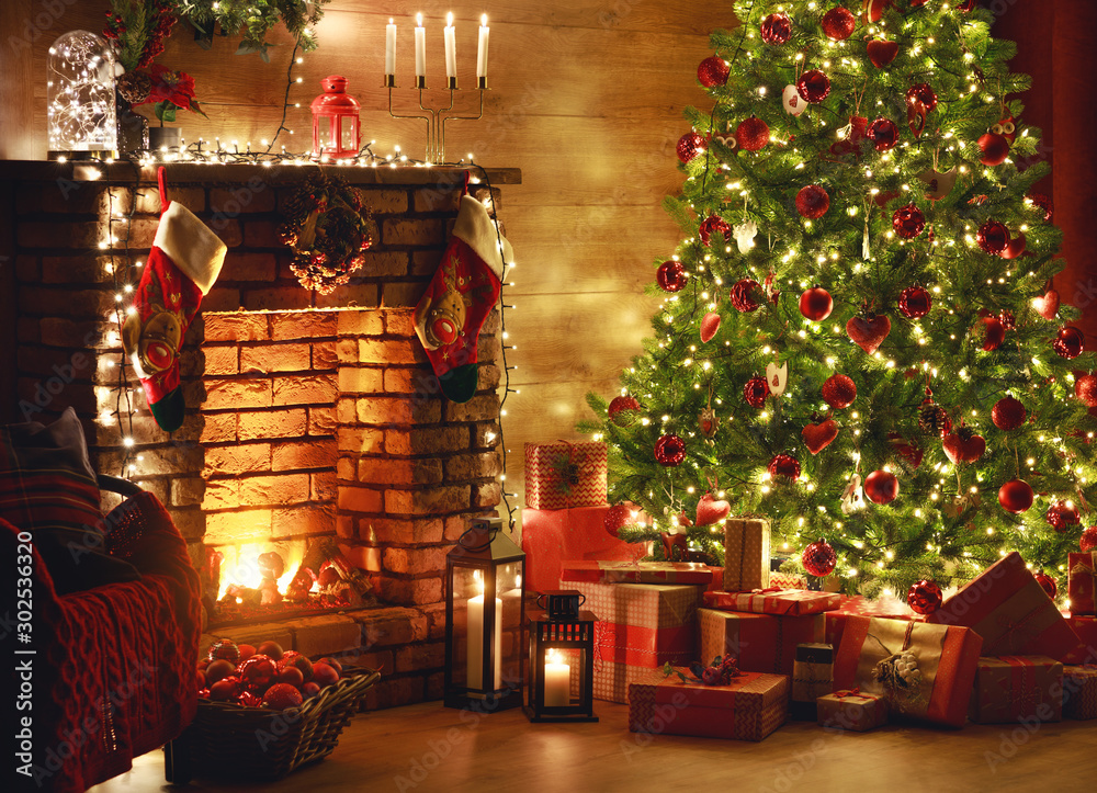 Fototapety, obrazy: interior christmas. magic glowing tree, fireplace, gifts in  dark  .