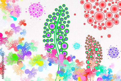 Synthetic Biology - Synthetic Microecosystem - Conceptual Illustration Wallpaper Mural
