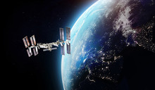 Interntaional Space Station. ISS Station On Orbit Of The Earth Planet. Elements Of This Image Furnished By NASA