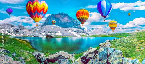 Canvas Prints Balloon Black Lake ( Karagol ) in Turkey