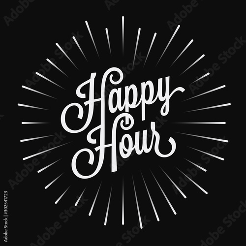 Photo Happy Hour vintage lettering on black background