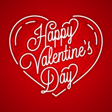 Happy Valentines Day Vintage . Linear On Red