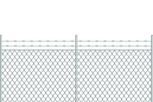 Metal Fence With Barbed Wire V...