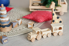Wooden Toy Train, Natural Wood Toy, Shape Of Colored Wooden, Baby Toy, Wooden Animal Toys Set For Babies.