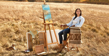 Wheat Field Woman Artist Paints A Picture Summer Easel, Beautiful Young Brunette, Freedom, Landscape, Canvas Muse, Nature And Sunset, Ecology.