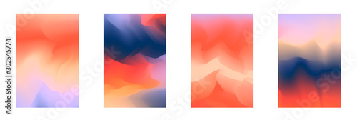 Abstract deep red and blue vibrant gradient colors backgrounds for fashion flyer, brochure design. Set of soft, bright gradiented wallpaper for mobile apps, ui design, banner, poster