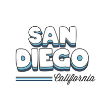 Touristic Greeting Card -San Diego, California, Vector Illustration