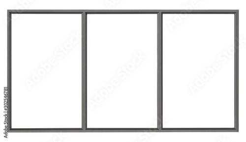 Fototapeta Modern black metal window isolated on white background, empty glass interior office frame for architectural element design obraz