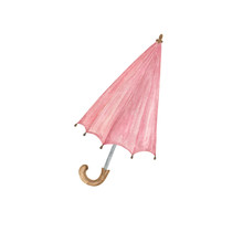 A Watercolor Hand Drawn Rose Colored Umbrella, Isolated Object On The White Background