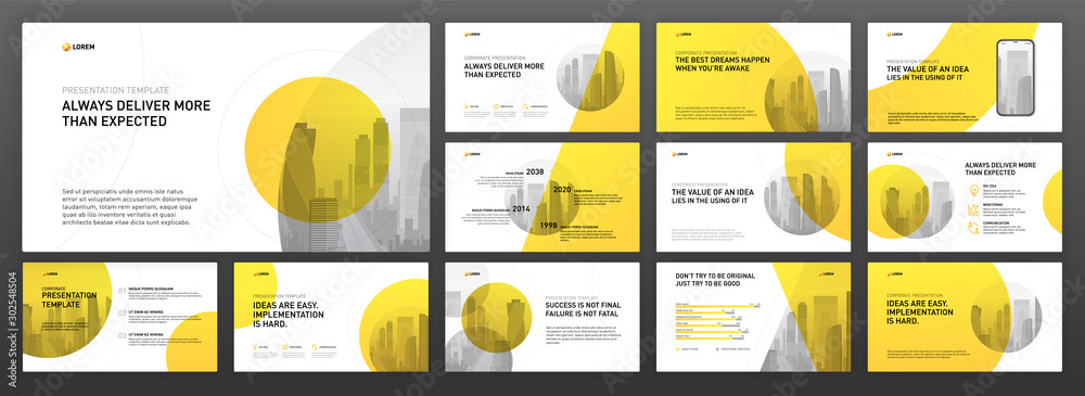 Fototapeta Business powerpoint presentation templates set. Use for modern keynote presentation background, brochure design, website slider, landing page, annual report, company profile, facebook banner.