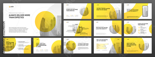 Business powerpoint presentation templates set. Use for modern keynote presentation background, brochure design, website slider, landing page, annual report, company profile, facebook banner. - 302548504