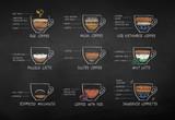 Color chalk drawn coffee recipes