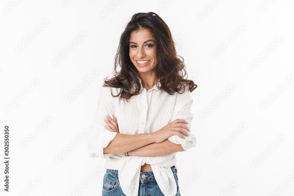 Fototapeta Beautiful cheerful young brunette woman