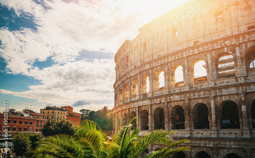Staande foto Oude gebouw Colosseum in Rome, Italy at bright sunny sky background, toned