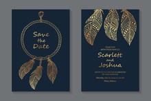 Wedding Invitation Design Or Greeting Card Templates With Golden Dream Catcher On A Navy Blue Background.