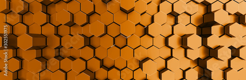 Network connection with financial business concept. Cryptocurrency block chain system of future banking technology. 3d rendering. Glossy surface. Futuristic surface with golden hexagons. Big data - 302551975