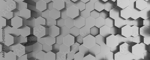 Network connection with financial business concept. Cryptocurrency block chain system of future banking technology. 3d rendering. Glossy surface. Futuristic surface with golden hexagons. Big data - 302551982